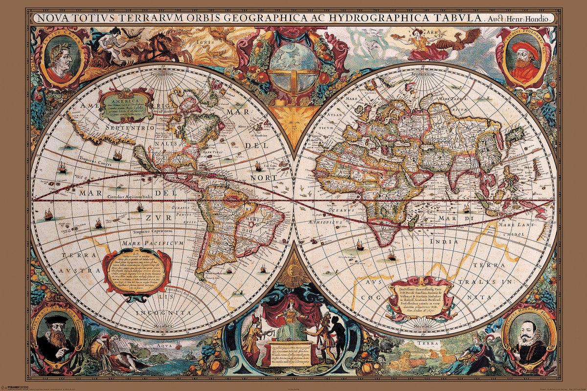 Karte von Welt, Weltkarte - 17. Jahrhundert Poster, Plakat | 3+1 ...