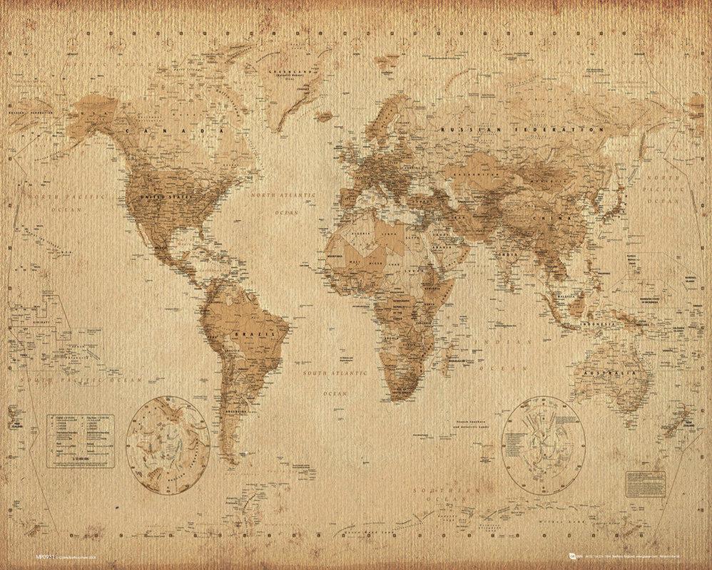 Karte von Welt, Weltkarte Antik Poster, Plakat | 3+1 GRATIS bei ...