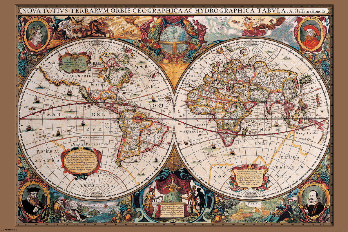 🤩 Mapa del Mundo siglo XVII Póster, Lámina | Compra en EuroPosters.es