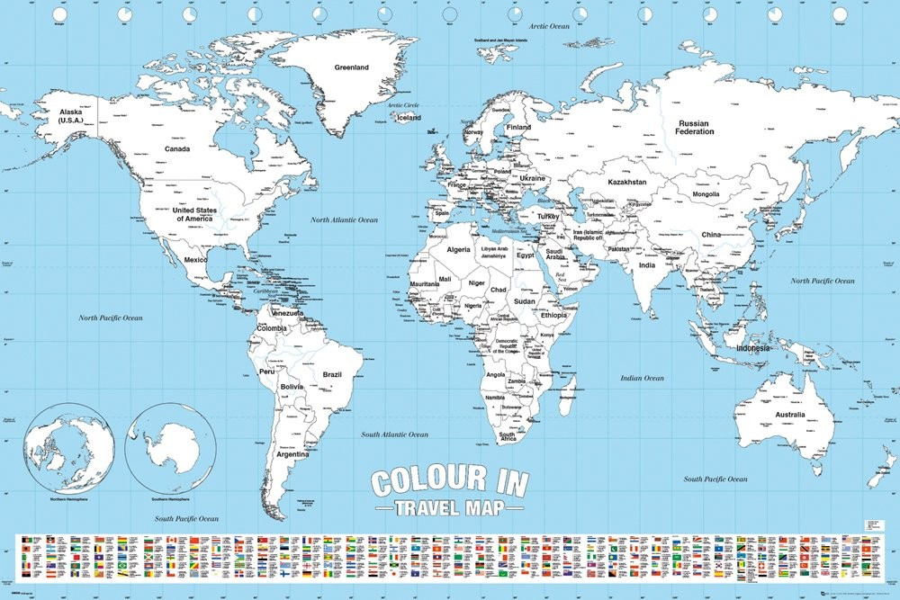 Cartina Mondo Immagini.Poster Quadro Mappa Del Mondo Colour In Su Europosters