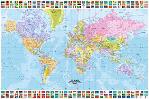 Poster quadro mappa del mondo politica su - Mappa del mondo contorno ks2 ...