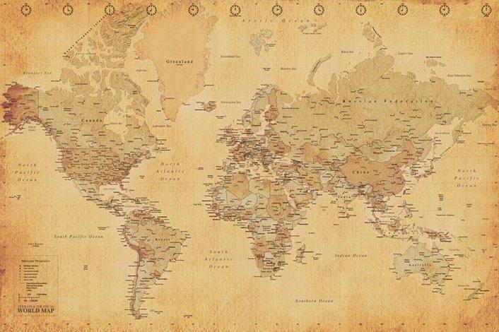Cartina Geografica Antica.Poster Quadro Mappa Del Mondo Stile Antico Su Europosters