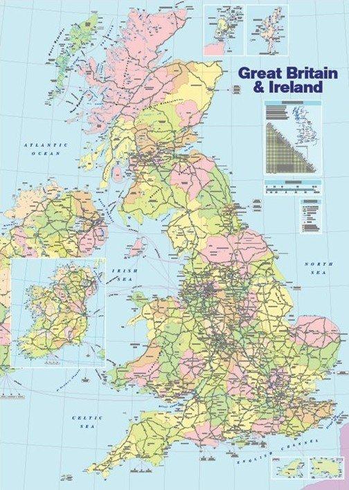 Cartina Geografica Politica Gran Bretagna.Poster Quadro Mappa Della Gran Bretagna Politica Su Europosters It