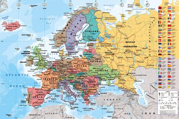 Cartina Delleuropa.Poster Quadro Mappa Politica Dell Europa Su Europosters It