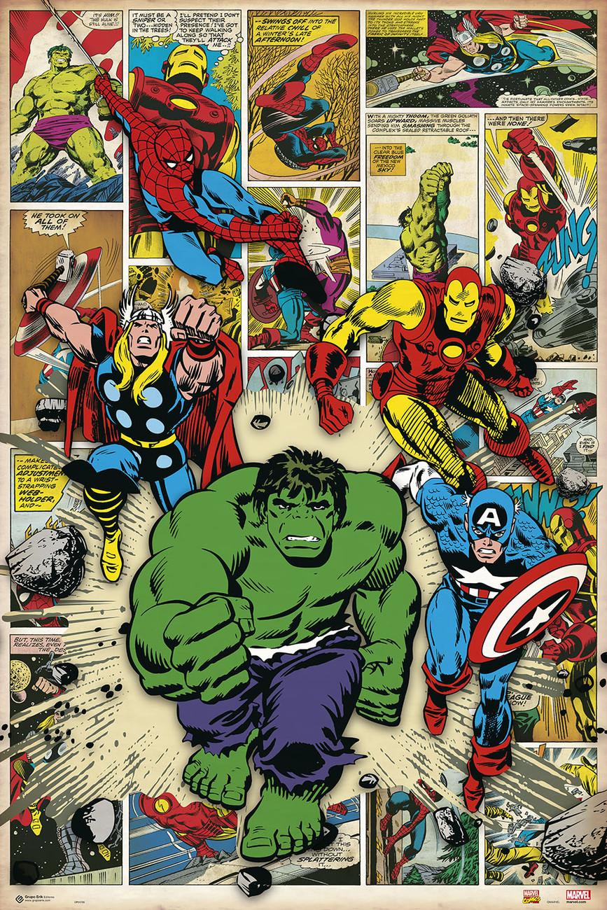 🤩 Marvel Comic - Here Come The Heroes Póster, Lámina | Compra en ...