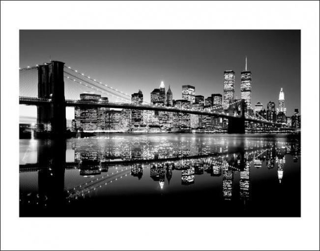 Bestel het New York - Brooklyn Bridge at Night (Zwart Wit) - Kunstdruk ...