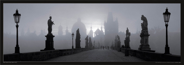 Póster Prague – Charles bridge / b&w
