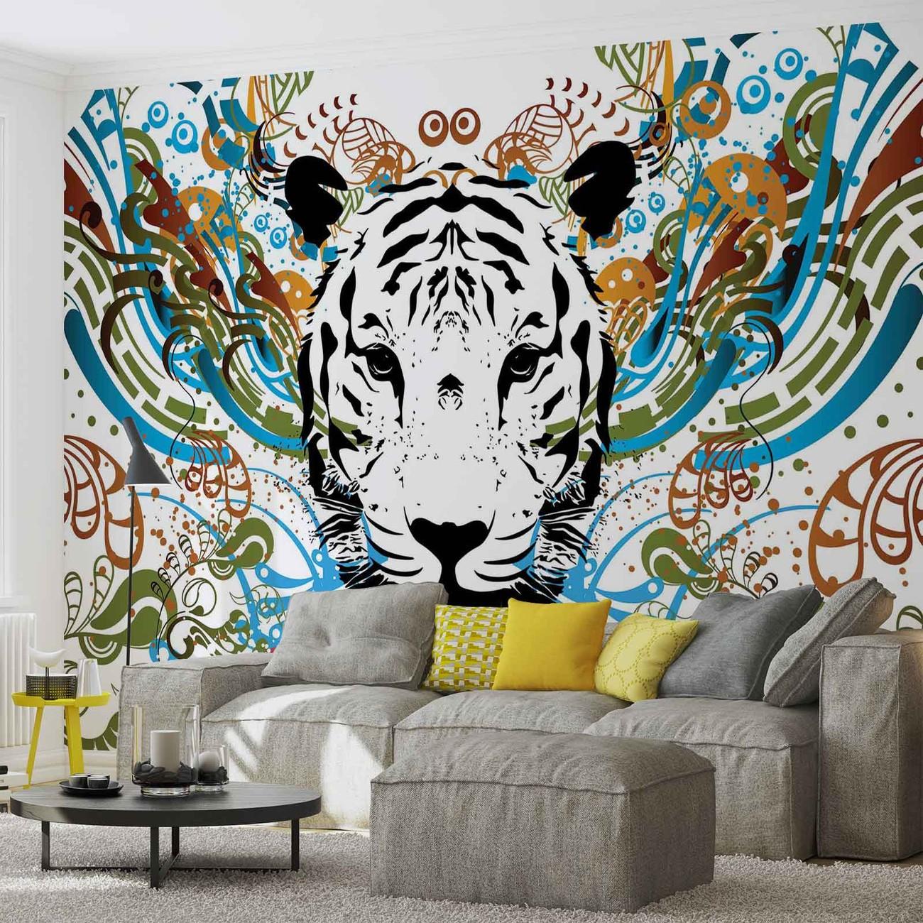 abstrait tigre poster mural papier peint acheter le sur. Black Bedroom Furniture Sets. Home Design Ideas