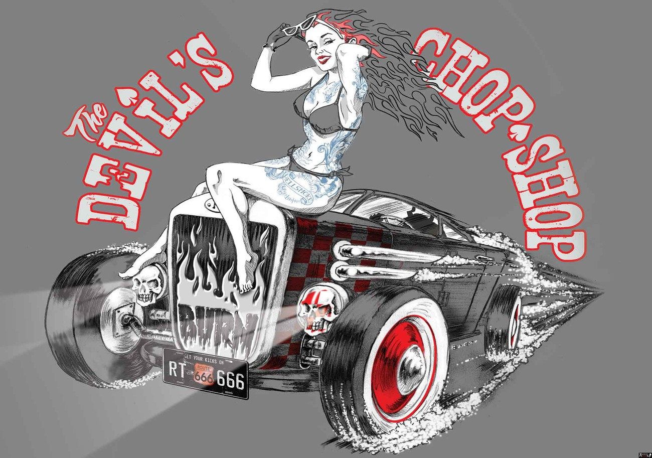 alchimie hot rod devil voiture poster mural papier peint acheter le sur. Black Bedroom Furniture Sets. Home Design Ideas