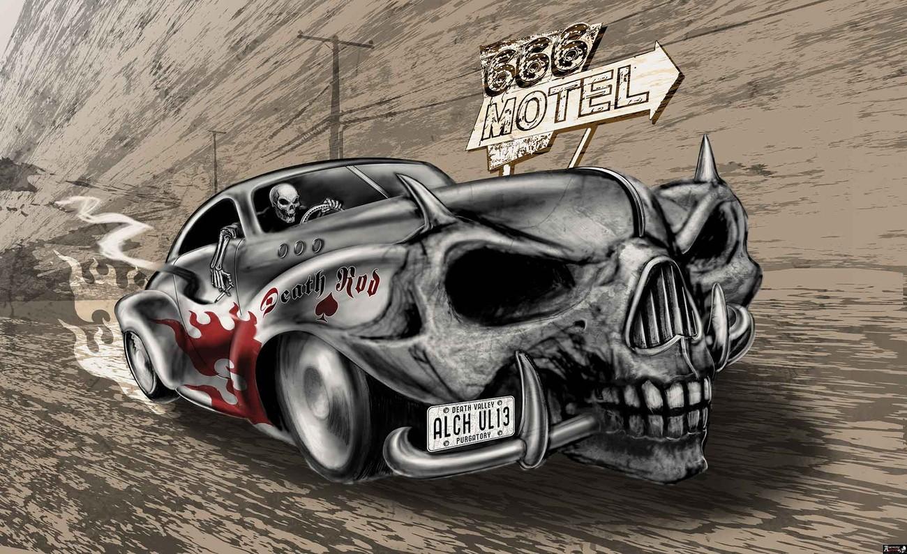 2329 Crâne METAL VOITURE Nappes Papier Peint-Gothique Alchemy Death Rod 666 Hôtel