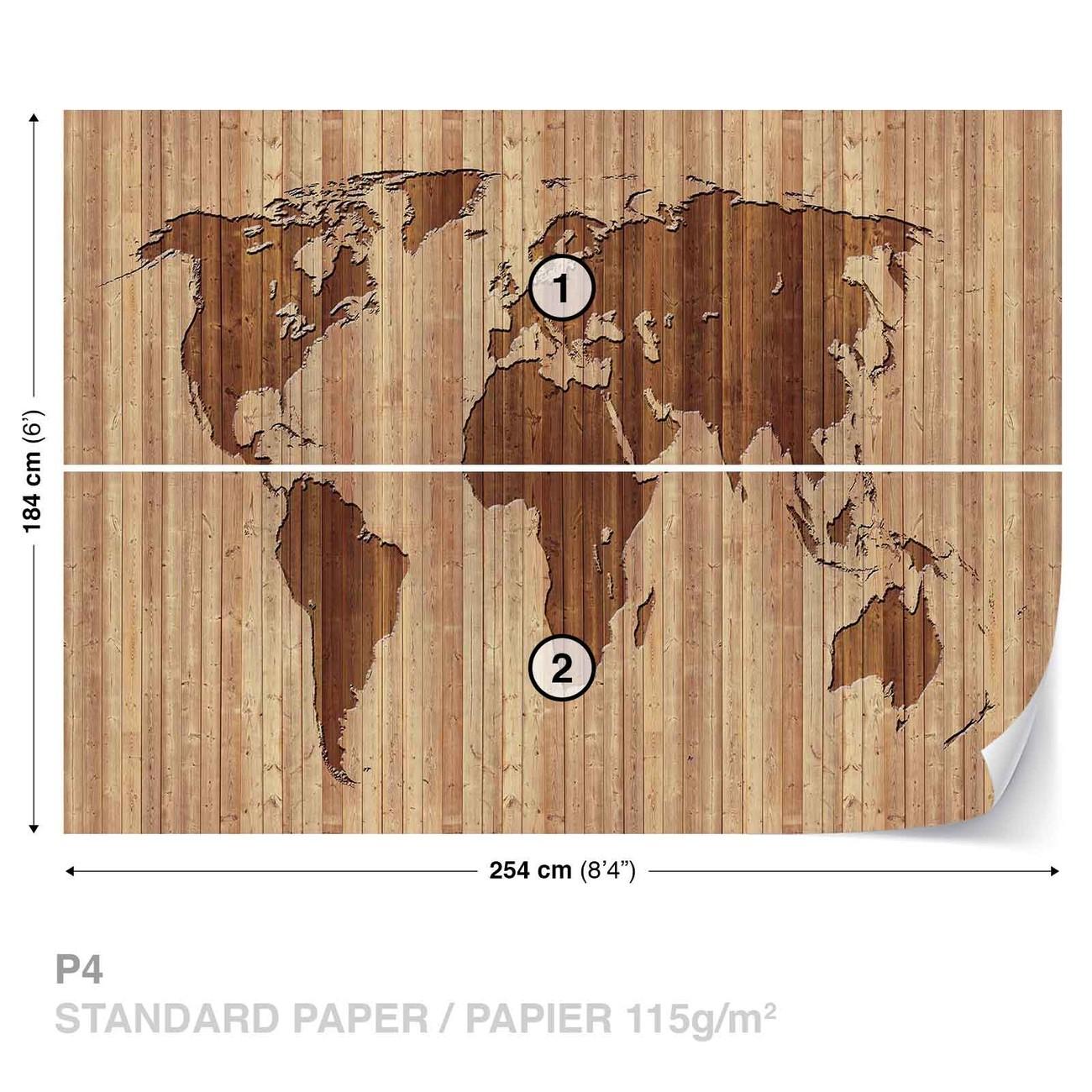 carte du monde bois poster mural papier peint acheter le sur. Black Bedroom Furniture Sets. Home Design Ideas