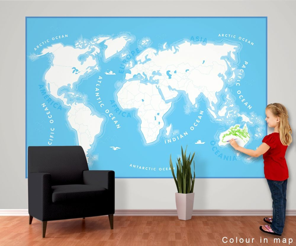 carte du monde pour les enfants poster mural papier peint acheter le sur. Black Bedroom Furniture Sets. Home Design Ideas