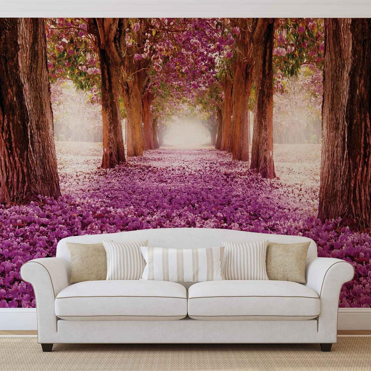 chemin dans les arbres en fleur rose poster mural papier. Black Bedroom Furniture Sets. Home Design Ideas