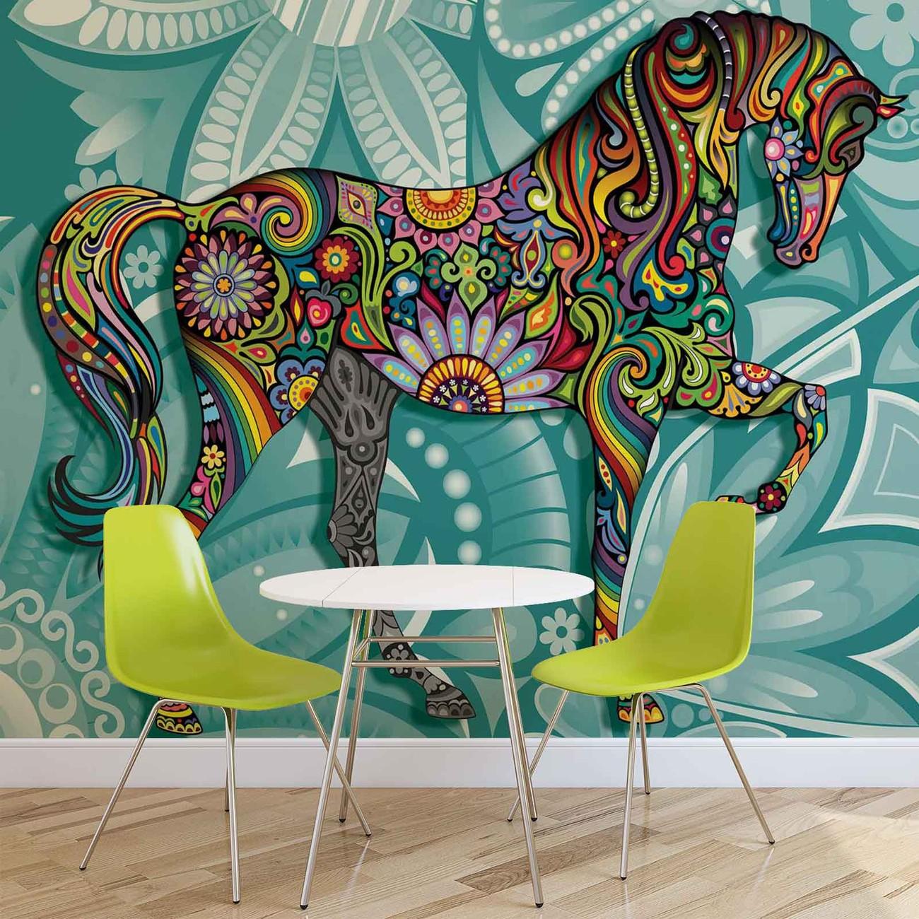 cheval fleurs couleurs abstraites poster mural papier peint acheter le sur. Black Bedroom Furniture Sets. Home Design Ideas