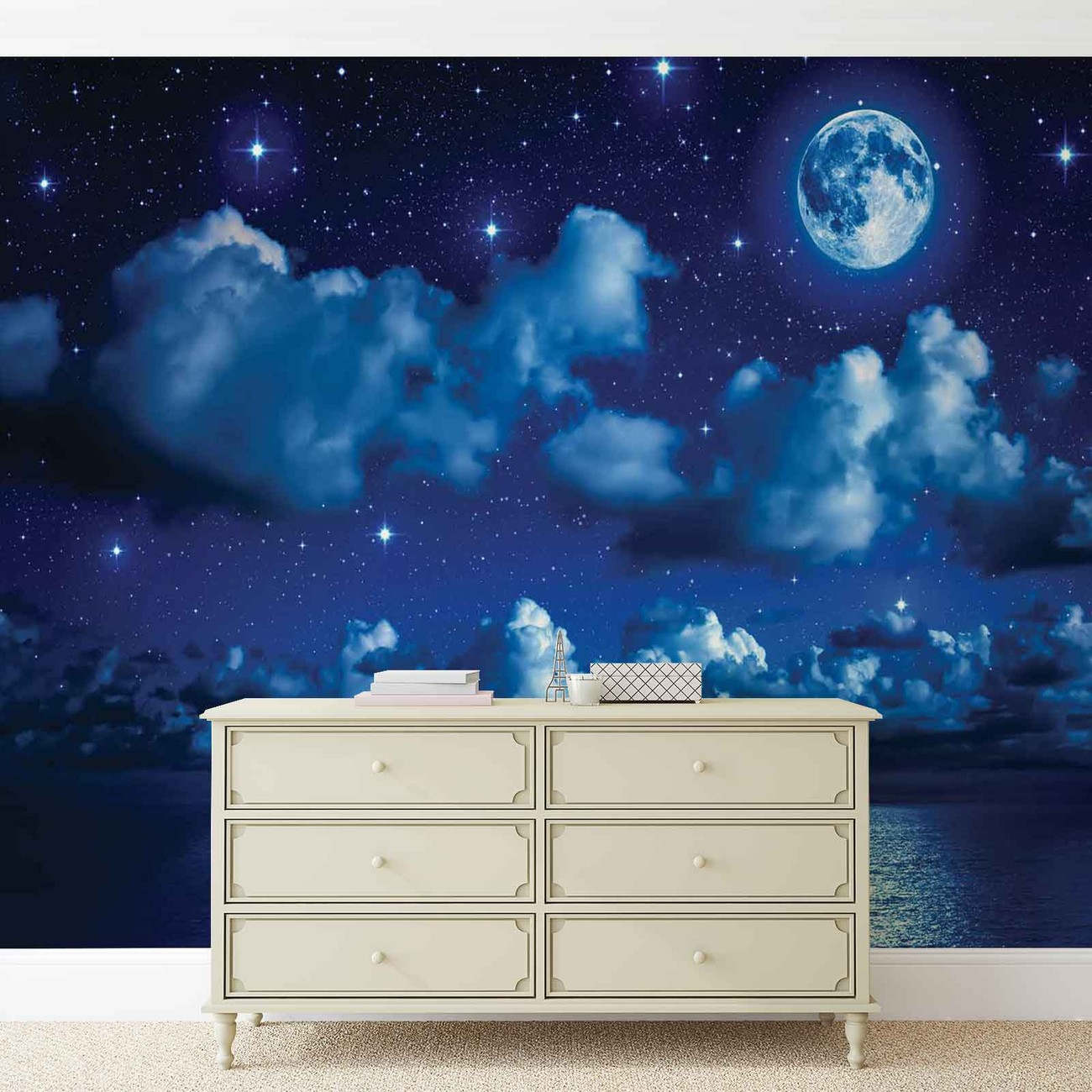 ciel lune nuages toiles nuit mer poster mural papier peint acheter le sur. Black Bedroom Furniture Sets. Home Design Ideas