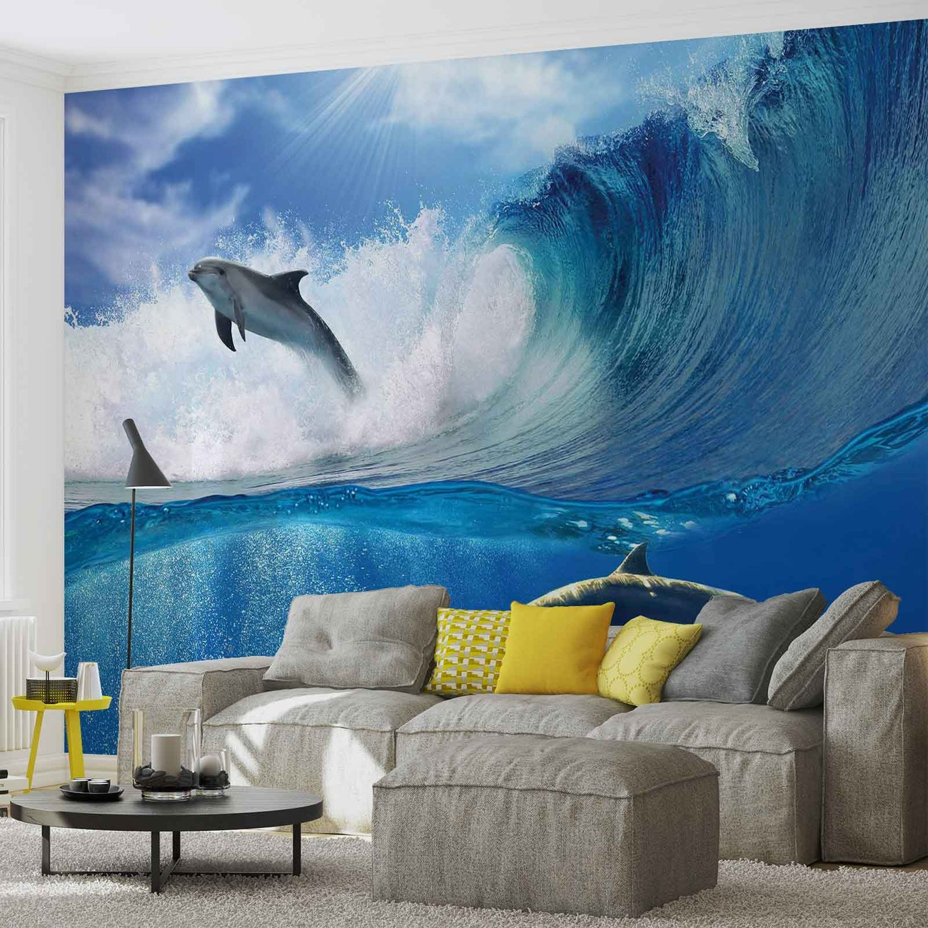 dauphins mer vague nature poster mural papier peint acheter le sur. Black Bedroom Furniture Sets. Home Design Ideas