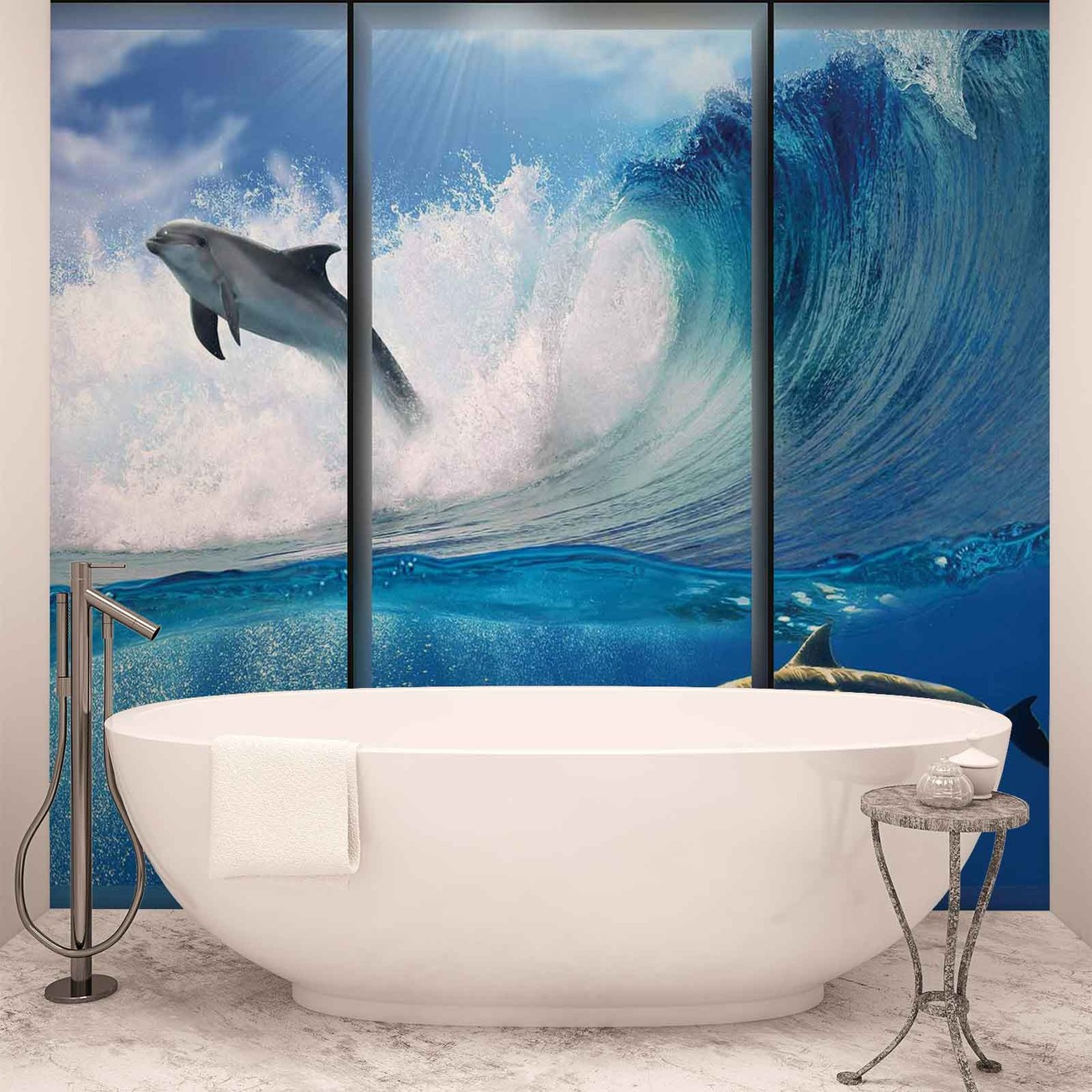 dauphins saut vagues mer poster mural papier peint acheter le sur. Black Bedroom Furniture Sets. Home Design Ideas