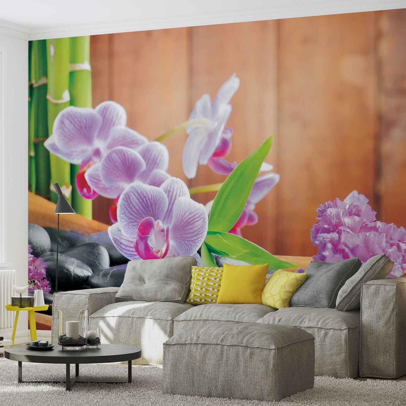 Fleurs orchid es zen poster mural papier peint acheter for Poster xxl mural zen