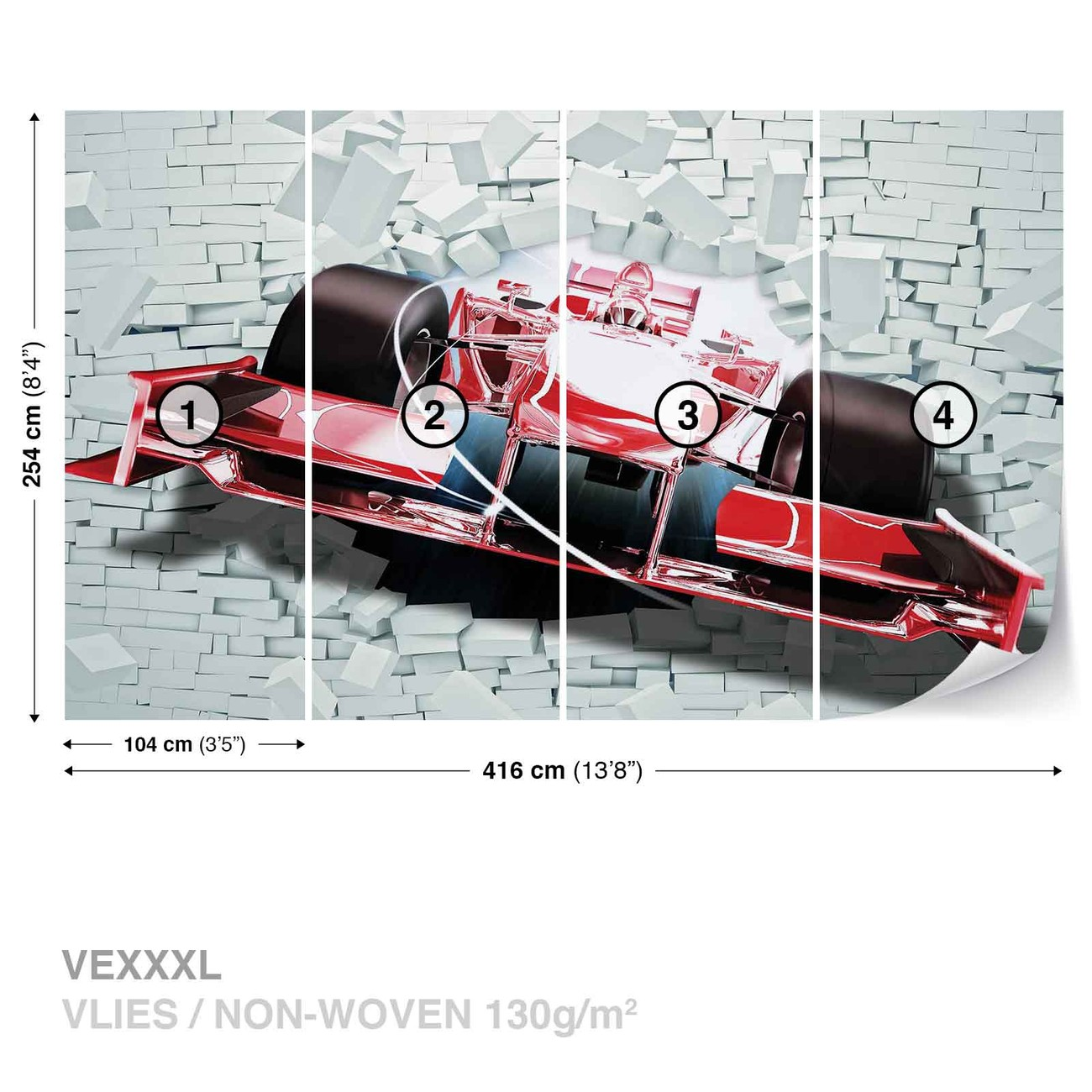 mur de brique formule 1 voiture de course poster mural papier peint acheter le sur. Black Bedroom Furniture Sets. Home Design Ideas