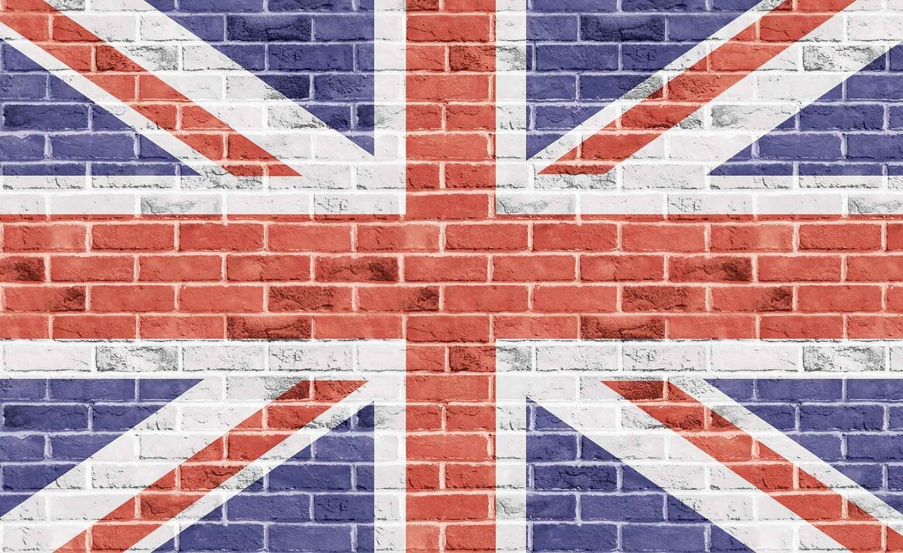 mur en briques drapeau anglais poster mural papier peint. Black Bedroom Furniture Sets. Home Design Ideas