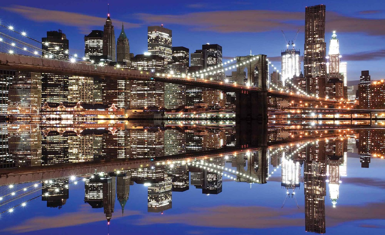 New york brooklyn bridge nuit poster mural papier peint - Poster mural xxl new york ...