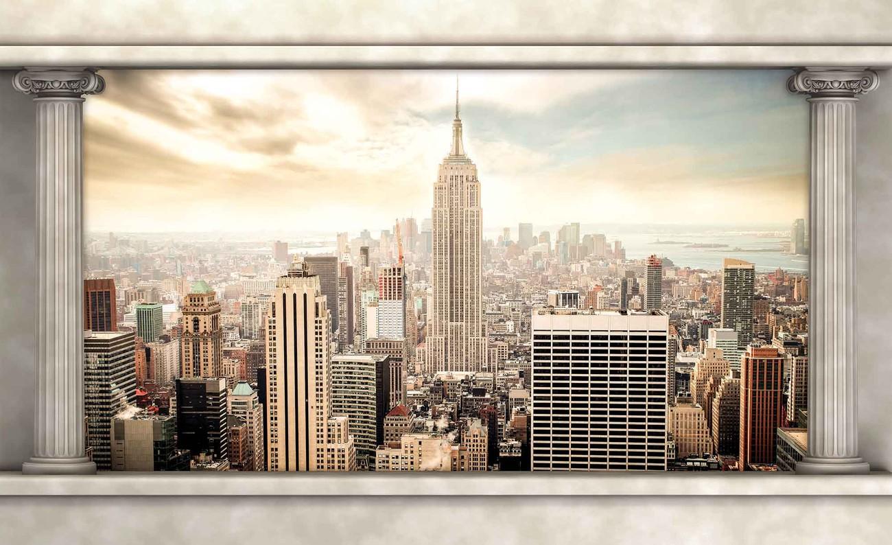 New york city vue piliers poster mural papier peint - Poster mural xxl new york ...