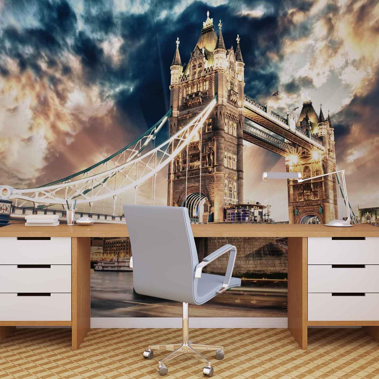 ville de londres tower bridge poster mural papier peint acheter le sur. Black Bedroom Furniture Sets. Home Design Ideas