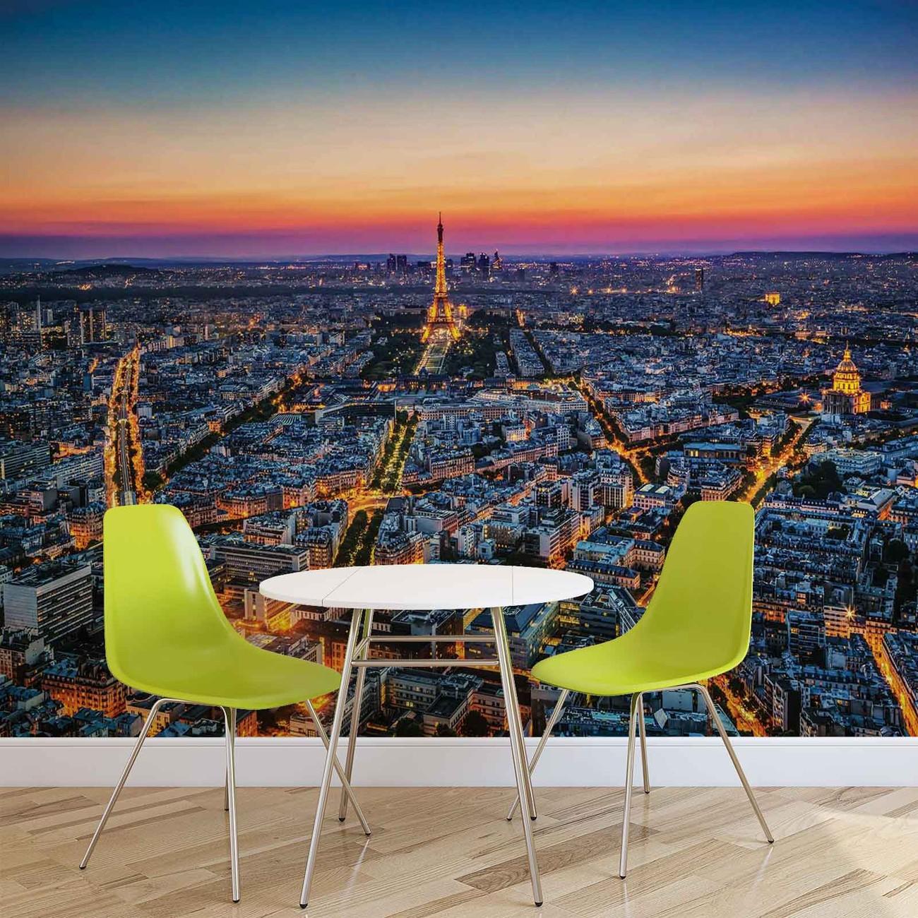 Ville paris coucher de soleil tour eiffel poster mural for Parigi non turistica