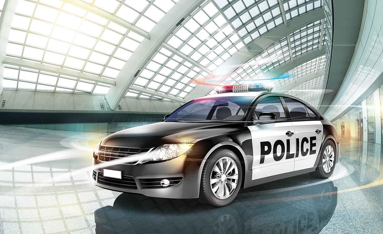voiture de police poster mural papier peint acheter le sur. Black Bedroom Furniture Sets. Home Design Ideas