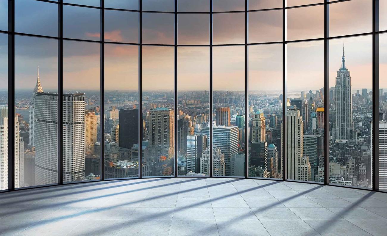 Vue de la ville de new york poster mural papier peint for Ville a new york