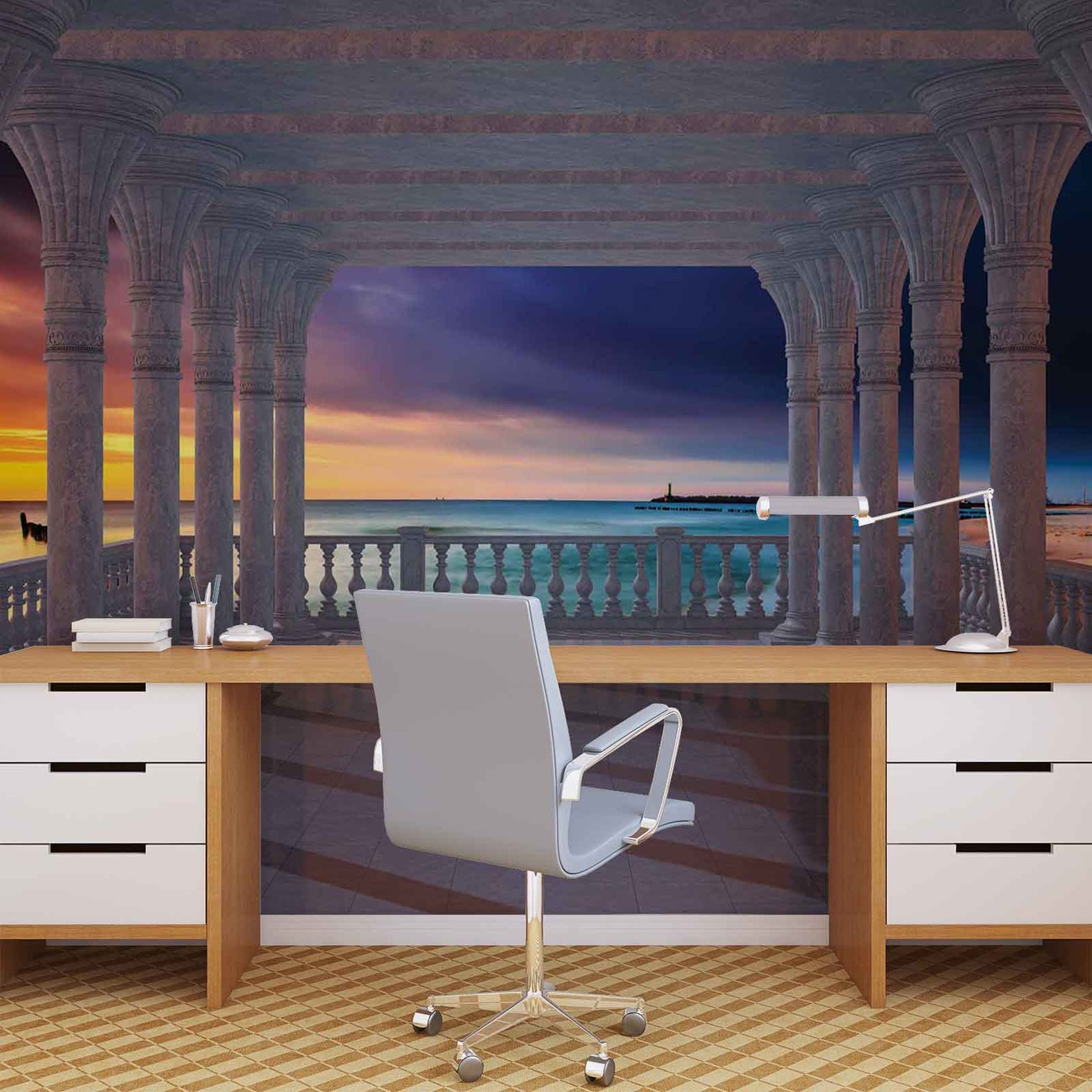vue sur la mer travers les arches poster mural papier peint acheter le sur. Black Bedroom Furniture Sets. Home Design Ideas