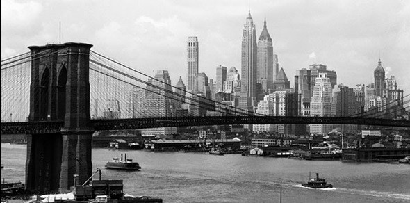 poster affisch new york manhattan skyline and brooklyn bridge p. Black Bedroom Furniture Sets. Home Design Ideas