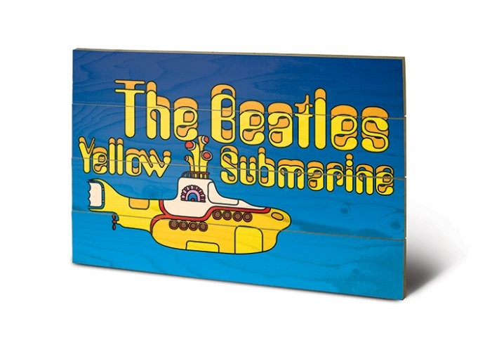 bild auf holz the beatles yellow submarine bei europosters. Black Bedroom Furniture Sets. Home Design Ideas