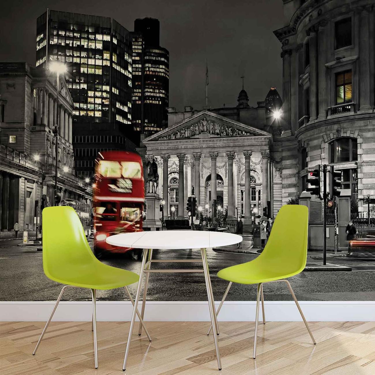londres bus ville rouge poster mural papier peint acheter le sur. Black Bedroom Furniture Sets. Home Design Ideas