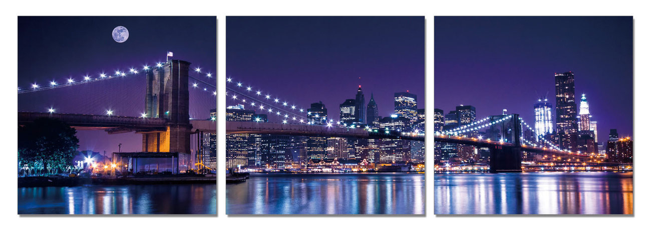 wandbilder bilder new york brooklyn bridge at night bei europosters. Black Bedroom Furniture Sets. Home Design Ideas