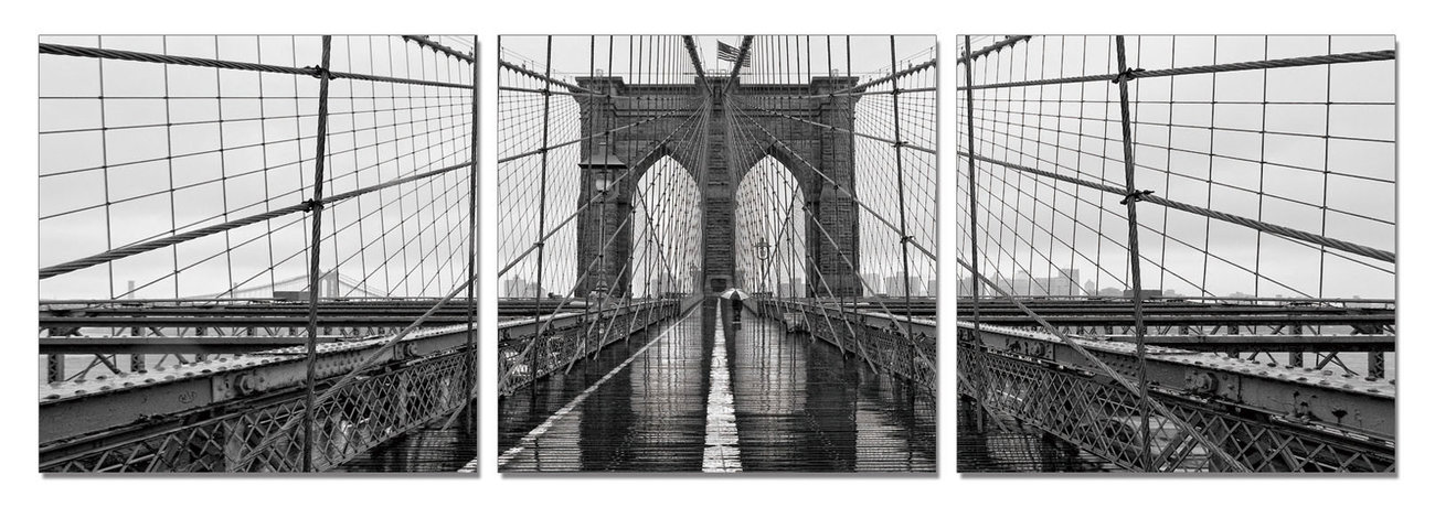 wandbilder bilder new york brooklyn bridge b w bei europosters. Black Bedroom Furniture Sets. Home Design Ideas