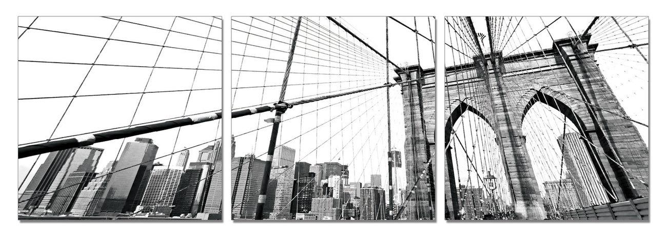 wandbilder bilder new york brooklyn bridge detail b w bei europosters. Black Bedroom Furniture Sets. Home Design Ideas