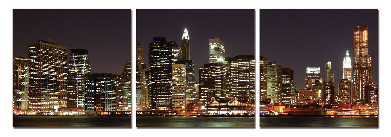 wandbilder bilder new york manhattan at night bei europosters. Black Bedroom Furniture Sets. Home Design Ideas