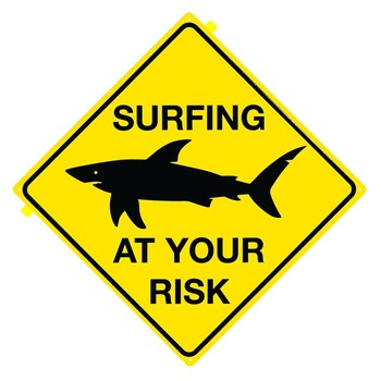 SHARK - Surfing at your risk -  plechová cedule
