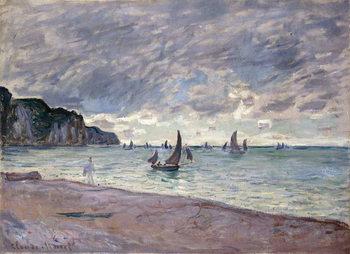 Εκτύπωση καμβά Fishing Boats in front of the Beach and Cliffs of Pourville