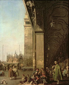 Εκτύπωση καμβά Venice: Piazza di San Marco and the Colonnade of the Procuratie Nuove, c.1756
