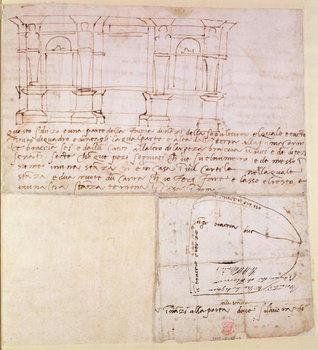 Εκτύπωση καμβά W.23r Architectural sketch with notes