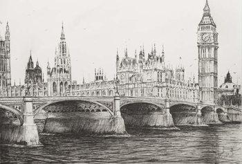 Εκτύπωση καμβά Westminster Bridge London, 2006,