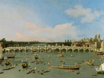 Εκτύπωση καμβά Westminster Bridge, London, With the Lord Mayor's Procession on the Thames