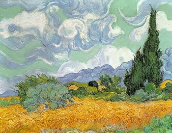 Εκτύπωση καμβά Wheatfield with Cypresses, 1889
