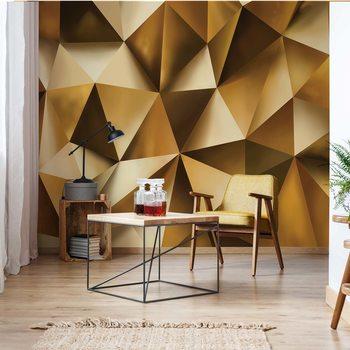 Ταπετσαρία τοιχογραφία 3D Gold Polygon Texture