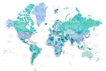 Ταπετσαρία τοιχογραφία Aquamarine and blue watercolor detailed world map