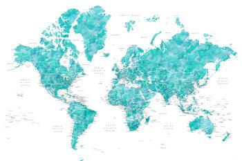 Ταπετσαρία τοιχογραφία Aquamarine watercolor world map with cities, Caribbean waters
