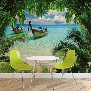 Ταπετσαρία τοιχογραφία Beach Tropical Paradise Boat