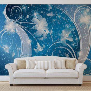 Ταπετσαρία τοιχογραφία Blue Silver Floral Abstract